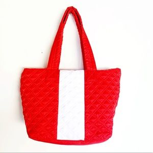 Sondra Roberts Quilted Tote Squared Medium Red NEW
